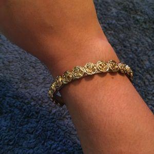 Line of Roses Vintage Bangle Bracelet